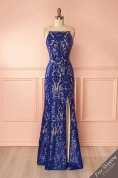 Blue sequin evening mermaid gown - Robe longue de soirée bleue à coupe sirène avec paillettes