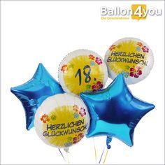 Riesenbukett zum 18. Geburtstag  Der 18. Geburtstag verdient ein großes Geschenkpaket. Wenn Sie dieses Ballonbukett bestellen, versenden wir gleich fünf Folienballons mit passendem Design zum 18. Geburtstag. Bereits heliumgefüllt sorgen sie für einen großen Umkarton von großem Gewicht. Das Auspacken führt zu einer großen Überraschung, wenn sie alle nach oben schweben. Keine Sorge, sie sind am Karton befestigt.