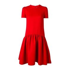 ALEXANDER McQUEEN Red Peplum Skirt Dress (28.565 ARS) ❤ liked on Polyvore featuring dresses, red, red silk dress, red peplum dress, red short sleeve dress, short-sleeve dresses and red day dress