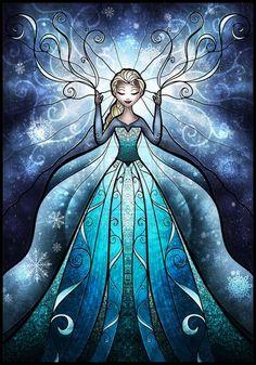 http://mandiemanzano.com/pop-culture/ Mandie Manzano Frozen Elsa stained Glass