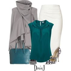 Office Look - Teal Collection by dimij on Polyvore