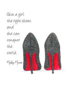 Louboutin Shoes Fashion Illustration- Marilyn Monroe Quote- Black and White Fashion Art #artprints