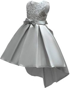 Shiny Toddler Little/Big Girls Pleated Beaded High-Low Applique Embroidered Flower Girl Pageant Dance Party Dress Kids Party Wear Dresses, Kids Dress Wear, Kids Gown, Girls Formal Dresses, Toddler Girl Dresses, Little Girl Dresses, Princess Flower Girl Dresses, Princess Dress Kids, White Flower Girl Dresses