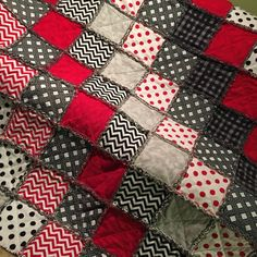 This beautiful handmade rag quilt comes with 3 CUSTOM EMBROIDERED SQUARES. This totally customizable rag quilt has many fun patterns!! The quilt is