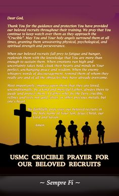 USMC CRUCIBLE PRAYER FOR OUR BELOVED RECRUITS - Written for and in honor of our son and his fellow USMC recruits (October 6, 2016) CLGibbons (c)2016 Marine Girlfriend Quotes, Marine Quotes, Usmc Quotes, Military Girlfriend, Military Mom, Soldier Quotes, Military Party, Quotes Quotes, Frases