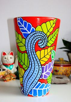 maceta de barro modelo conica diametro 25 altura 40cm, pintada a mano Painted Clay Pots, Painted Flower Pots, Hand Painted Ceramics, Cactus Clipart, Clay Pot Projects, Pottery Pots, Mosaic Flower Pots, Cactus Pot, Flower Pot Crafts