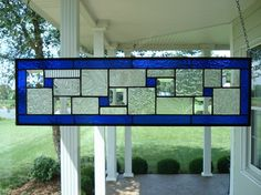 Stained Glass Panel Deep Blue Window Transom or by TheGlassShire