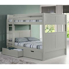 Camaflexi Full over Full Bunk Bed with Drawers - Panel Headboard - Grey Finish - Bunk Beds With Drawers, Bunk Beds With Storage, Bunk Beds With Stairs, Bed Storage, Storage Drawers, Bunk Beds For Girls Room, Adult Bunk Beds, Kids Bunk Beds, Loft Beds