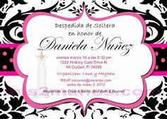 Invitaciones Para Despedida de Soltera Color Blanco y Negro