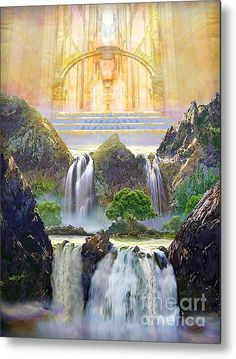 Painting of vision of the River Of Life flowing from God's Throne Room on the Lord's Holy Hill in Heaven ❤️ Jesus is coming again, soon! Fantasy Landscape, Fantasy Art, Jesus Christus, Throne Room, Prophetic Art, Biblical Art, Lion Of Judah, New Earth, Bible Art