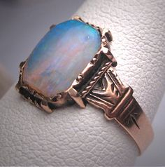 Opale australienne antique bague de mariage par AawsombleiJewelry