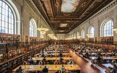 General Research Room of the New York Public Library. Built in the library is located in midtown Manhattan on Fifth Avenue, between and streets. New York Public Library Vancouver, Beautiful Library, 42nd Street, The Cloisters, New York Public Library, Public Libraries, New York Travel, Usa Travel, Reading Room