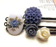 Blue Anny vintage hair bobby pin by youmademyday on Etsy, $6.99