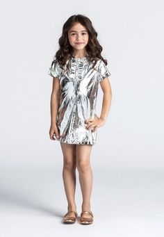 Metallic silver dress from the spring collection at Lanvin childrenswear..