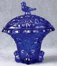 Cobalt Blue Glass Bird Candy Dish