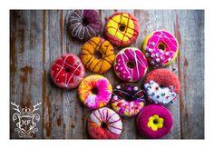 Felted Jolly Doughnuts Interior Decoration by Kensington Felt.  Follow us on Facebook! https://www.facebook.com/kensingtonFelt/