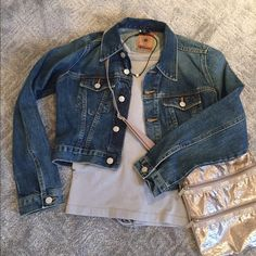 Cropped denim jacket Red Engine cropped denim jacket. Excellent condition Like New. I have two. This one is the small and I have a slightly darker denim in an XS. Great addition to your wardrobe! RED ENGINE Jackets & Coats Jean Jackets