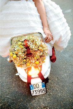 Italian Destination Wedding Scooter Wreath