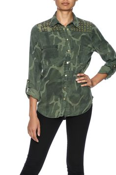 Camoprinted button up top with long roll tab sleeves, studded shoulders, shirttail hem and front pockets.   Camo Button Up by Black Swan. Clothing - Tops - Button Down Clothing - Tops - Long Sleeve Laredo, Texas
