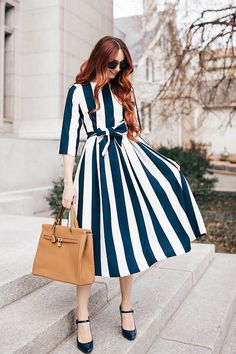 Modest dresses, modest fashion, and bridesmaid dresses. Navy and white striped Bon Voyage Dress by Dainty Jewell's.