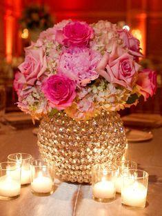 Gold & pink centerpiece idea.
