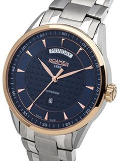 Roamer Superior Day Date Men s Quartz Watch with Blue Dial Analogue Display  and Silver Stainless Steel Bracelet 508293 49 45 50 636a0cfe3c