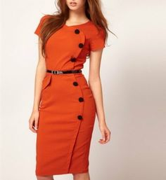Noemie Slim Commuter Dress(orange)