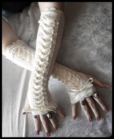 Porcelain Maiden Victorian Corset Laced Up Arm Warmers