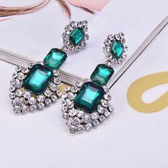 [¥21.79] European And American Fashion Full Diamond Gemstone Drop Earrings (Green)