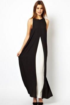 Elegant Ladies Patchwork Split Chiffon Maxi Dress
