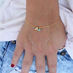Tiny Initial Bracelet Gold Letter Bracelet by lizaslittlethings Diamond Bracelets, Ankle Bracelets, Silver Bracelets, Jewelry Bracelets, Silver Jewelry, Silver Ring, Simple Bracelets, Paracord Bracelets, Silver Earrings