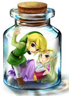 Bottle Link and Zelda :3