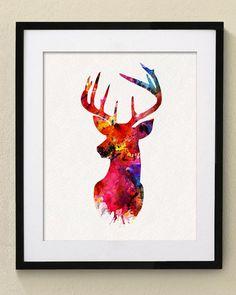 Colorful Deer Watercolor Painting Wall Art Wall Decor Art Home Decor Wall Hanging No.101