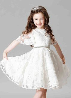 Lace Flower Girl Dress Princess Ivory A-line Illusion Bell Sleeve Knee Length Pageant Dress With Jeweled Sash