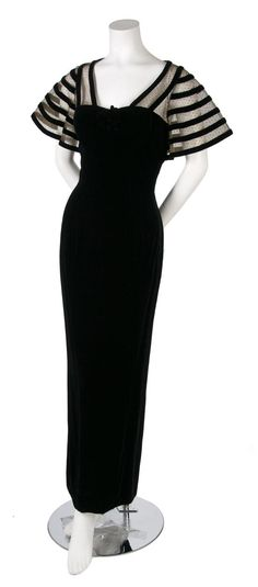 Black Velvet Evening Gown, 1930s, with a lace and velvet capelet attached at bust, straight fit, fully lined.