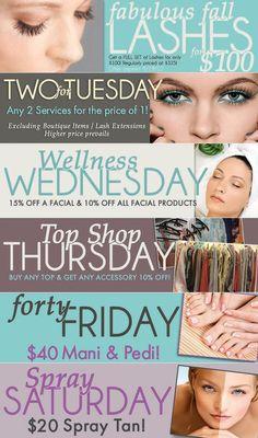 September Specials - PURA Spa & Boutique #spa #fashion #boutique #lashes #facials