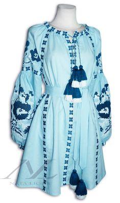 Sky blue Mini dress Boho StyleEmbroidered by NataLight on Etsy