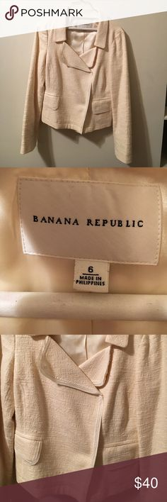 Banana Republic Cream Moto Jacket Super elegant for the workplace; no flaws and in great condition! Buttons have two ways to button; Size 6. Make offers! Banana Republic Jackets & Coats