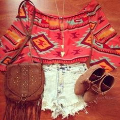 Tribal/ western print shirt summer outfit