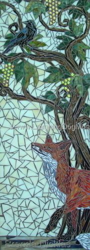 Sour Grapes mosaic panel, based on Aesop's fable. Laughing Dog Mosaics - Brenda Nicklas