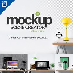 The Mockup Scene Creator for Adobe Photoshop lets you create your own scenes in seconds. This Adobe Photoshop mockup is simply amazing! For designers, it's