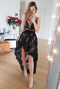 Lace High Low Prom Dress, Black V Neck Party Dress, Prom Gowns by fancygirldress, $125.10 USD