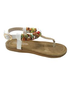 Another great find on #zulily! White Floral Braided T-Strap Sandal #zulilyfinds