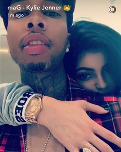 Kylie Jenner and Tyga in a loving embrace on Snap