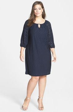 London Times Keyhole Detail Eyelet Shift Dress (Plus Size) available at #Nordstrom
