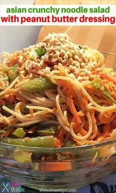 Asian Crunchy Noodle Salad is a cold salad made with crisp snap peas, carrots, peppers and a peanut butter dressing. Pressure Cooker or Stove Top.