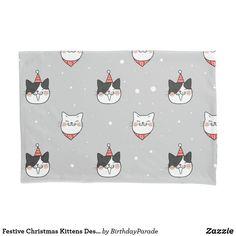 Festive Christmas Kittens Design Pillow Case Christmas Gift Wrapping, Christmas Gifts, Christmas Decorations, Christmas Kitten, Winter Christmas, Christmas Bedding, Designer Pillow, Happy Holidays, Reindeer