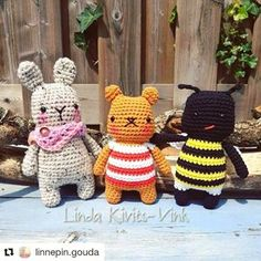 Alright, time for a new crochet pattern! This time it's for this cute little striped bear, which is actually a revamp of an old pattern from maybe 5 years ago. Unfortunately I can't find any pictures of it, but this new version is way cuter anyway!! I made 2 different critters with this pattern & they're identical except for color changes and the ears. Let's get started! Supplies - ww yarn in 3 colors for the bear, or 2 colors for the bunny. [I used vanna's choice, but any ww y...