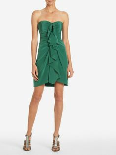 green strapless sweetheart short cocktail dress with flounce