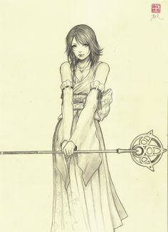 """Final Fantasy X """"Yuna"""" by Jasmin Darnell (Yasahime) Final Fantasy Girls, Final Fantasy Artwork, Character Sketches, Colouring Pages, Coloring, Sketches Tutorial, Art Model, Art Sketchbook, Cute Art"""